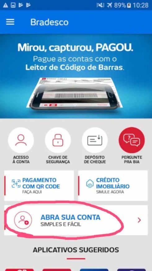 Bradesco incorpora função de abertura de conta no aplicativo para Android e iOS.