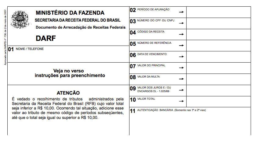 DARF - Documento de Arrecadação de Receitas Federais da Receita Federal do Brasil