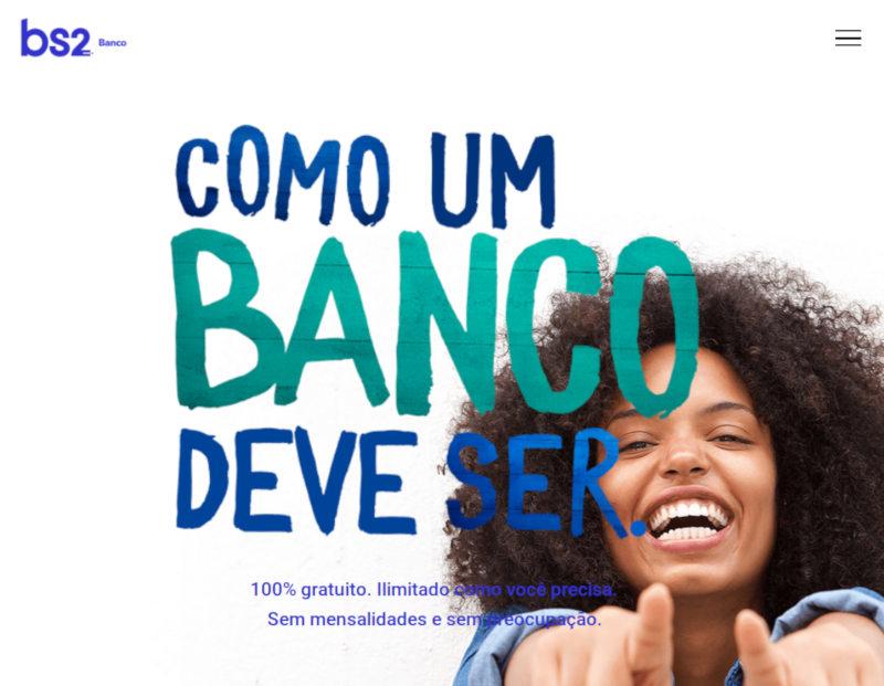 Banco BS2 é grátis, ilimitado, sendo o processo de abertura de conta feito 100% pelo celular.
